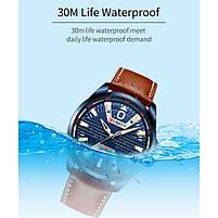 Годинники чоловічі наручні кварцові оригінальні Curren 8379 Blue-Brown класичні з шкіряним PU ремінцем, фото 10