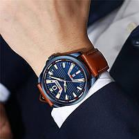 Годинники чоловічі наручні кварцові оригінальні Curren 8379 Blue-Brown класичні з шкіряним PU ремінцем, фото 7