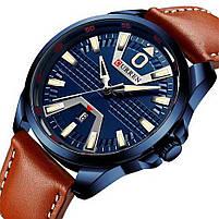 Годинники чоловічі наручні кварцові оригінальні Curren 8379 Blue-Brown класичні з шкіряним PU ремінцем, фото 3