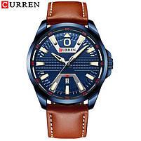 Годинники чоловічі наручні кварцові оригінальні Curren 8379 Blue-Brown класичні з шкіряним PU ремінцем, фото 2