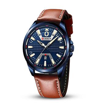 Часы мужские наручные кварцевые оригинальные Curren 8379 Blue-Brown классические с кожаным PU ремешком