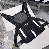Бронежилет тактический черный OFFICIAL нагрудная сумка черная, фото 3