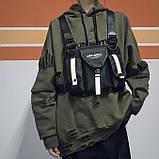 Бронежилет тактический черный OFFICIAL нагрудная сумка черная, фото 5