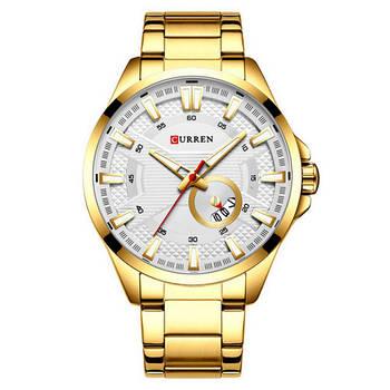 Часы мужские стильные наручные Curren 8372 Gold-White кварцевые оригинальные стальные золотистые