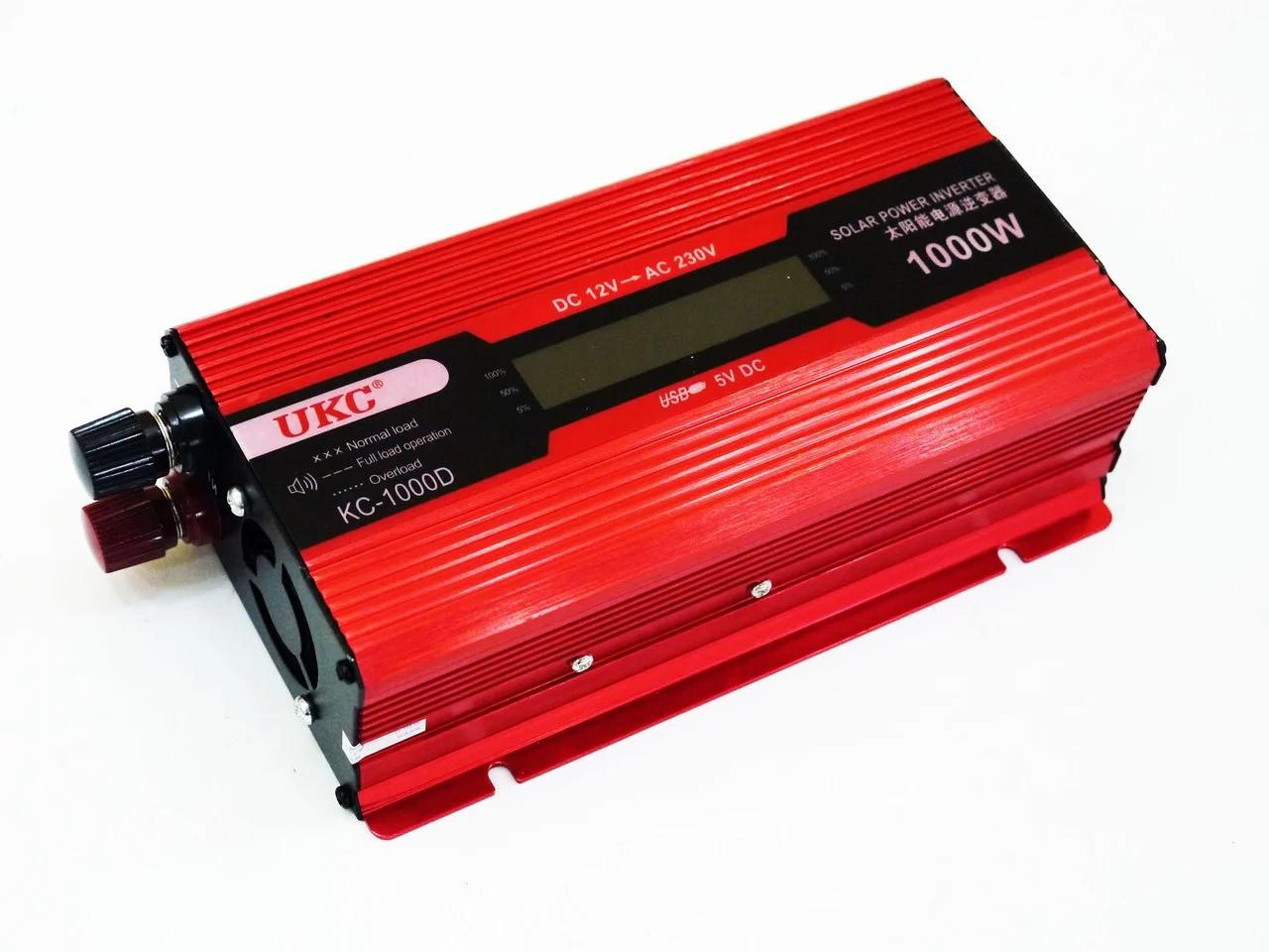 Перетворювач струму AC/DC UKC 1000W KC-1000D з LCD дисплеєм, автомобільний інвертор з екраном