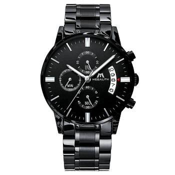 Часы мужские наручные Megalith 0105M Black-Silver стильные кварцевые оригинальные стальные черные
