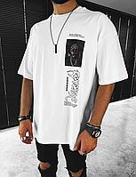 Біла мжская оверсайз футболка з принтом UNDERGROUND | Туреччина | 100% бавовна, фото 1