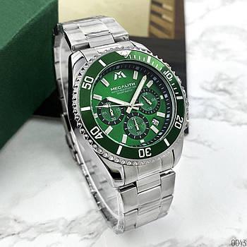 Спортивные мужские наручные часы Megalith 8046M Silver-Green кварцевые оригинальные стальные