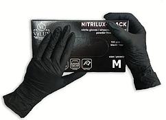 Перчатки нитриловые VitLux  неопудренные  нестерильные 100 шт  размер   М чёрные