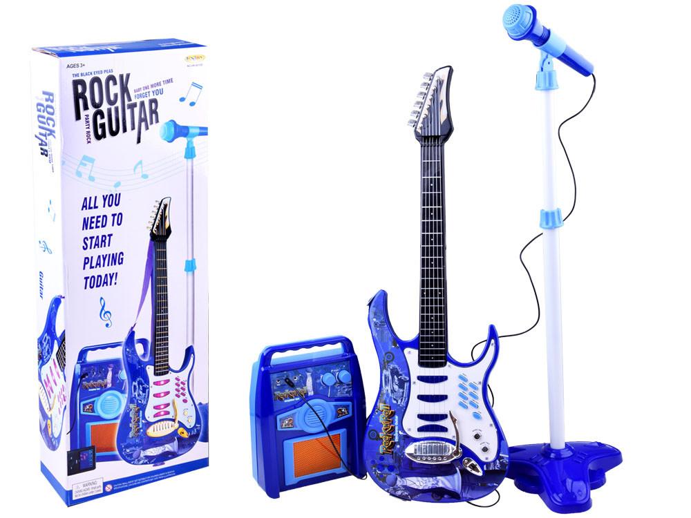 Дитяча електро гітара з мікрофоном і підсилювачем блакитна 1554