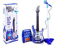 Дитяча електро гітара з мікрофоном і підсилювачем блакитна 1554, фото 1