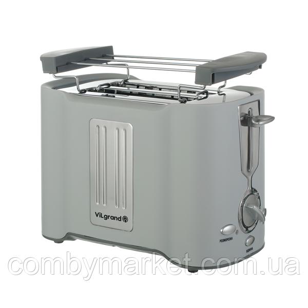 Тостер 950 Вт (піддон для крихт, розморожування/підігрів, підставка) ViLgrand VT0929Н_grey