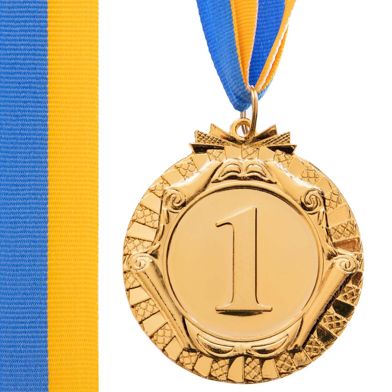 Спортивна медаль з стрічкою d=6,5 см C-6863, 1 місце (золото) OF