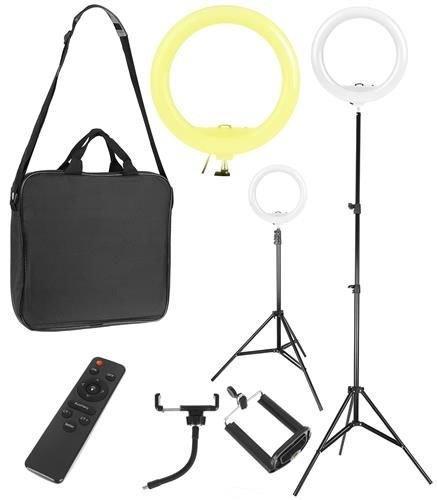 Лампа кільцева косметологічна з регулюванням світла і сумкою