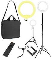 Лампа кільцева косметологічна з регулюванням світла і сумкою, фото 1