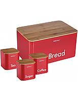 Нaбор хлебница и емкости для сыпучих Bread Box красный KH - 1085