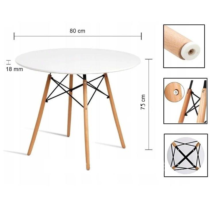 Стол круглый кухонный белый 80 × 75 см DT-005-1 WHITE