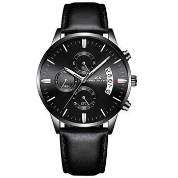 Часы мужские наручные кварцевые оригинальные Megalith 8008M All Black классические с кожаным PU ремешком