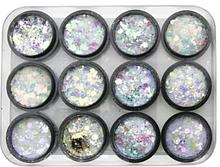 Декор для нігтів Місячне світло Galaxy glitter, 12 кольорів