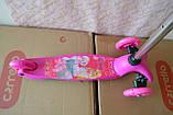 Дитячий триколісний самокат Best Scooter 5411 зі світними колесами Рожевий Барбі для дітей від 3 років, фото 6