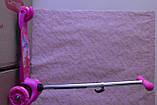 Дитячий триколісний самокат Best Scooter 5411 зі світними колесами Рожевий Барбі для дітей від 3 років, фото 7