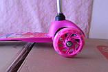 Дитячий триколісний самокат Best Scooter 5411 зі світними колесами Рожевий Барбі для дітей від 3 років, фото 8