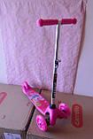 Дитячий триколісний самокат Best Scooter 5411 зі світними колесами Рожевий Барбі для дітей від 3 років, фото 9
