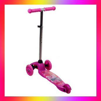 Детский трехколесный самокат Best Scooter 5411 со светящимися колесами Розовый Барби для детей от 2 лет
