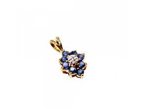 Золотой кулон с камнями  Сапфир и бриллиантом  *Цветок* 14К (585 проба)