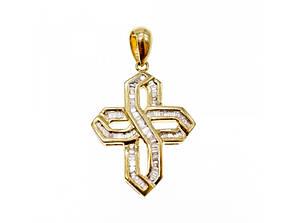 Золотой Крестик с белым Сапфиром