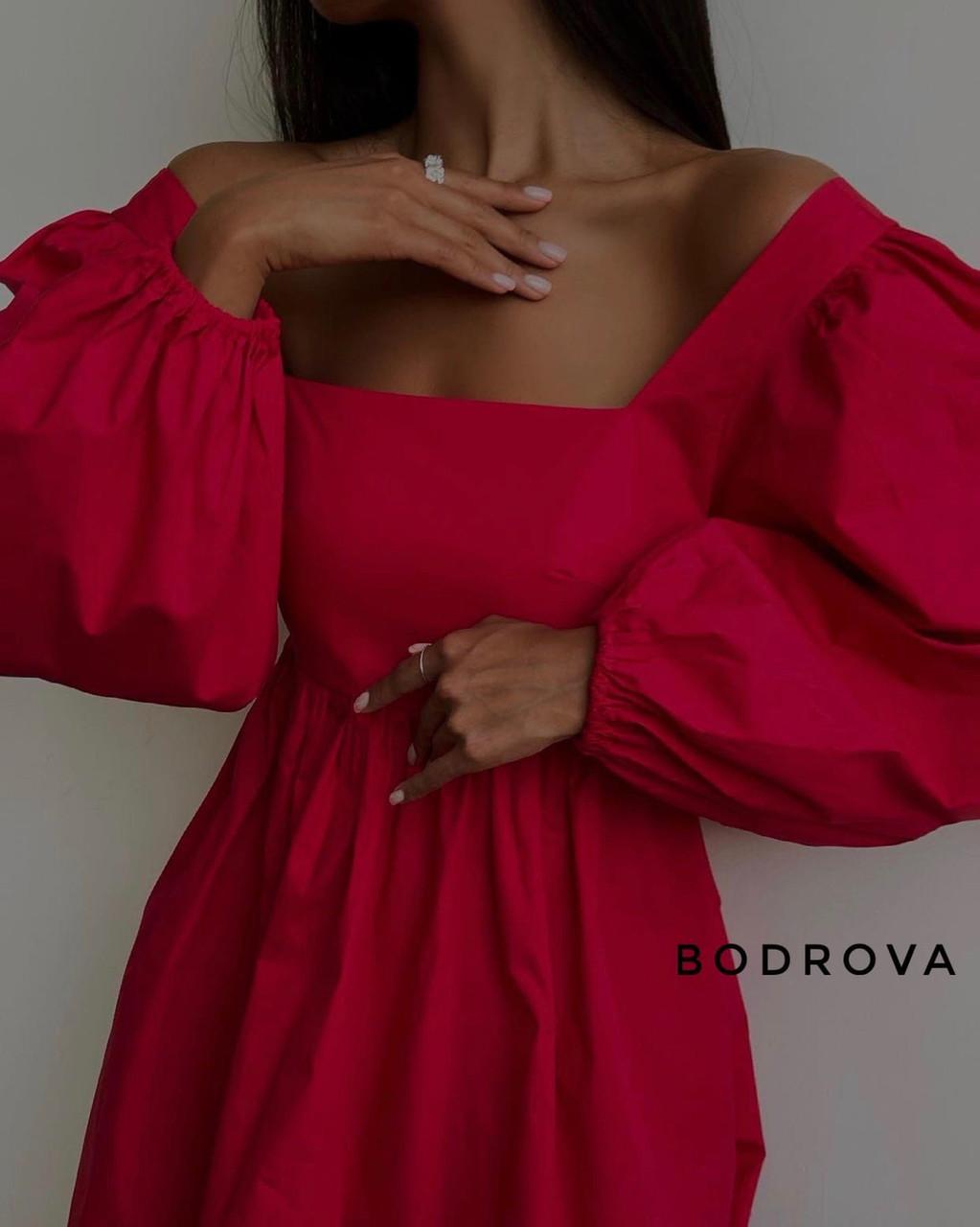Женское платье, коттон, р-р 42-44; 44-46 (красный)