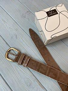 Коричневый женский кожаный ремень Фенди реплика