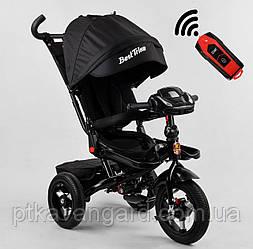 Велосипед трехколесный с ручкой для родителей Черного цвета Best Trike 6088 надувные колеса, фара с USB, пульт