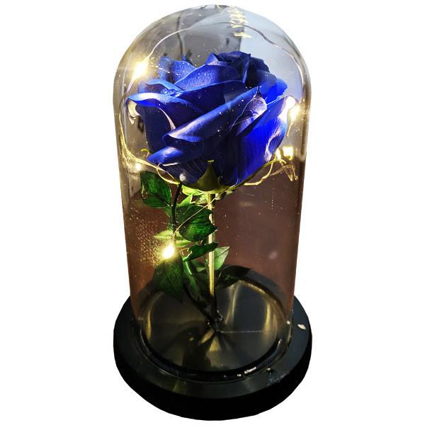 Подарунок дівчині! РОЗА в скляній колбі +Підсвічування (нічник) Синя (справжні фото!)