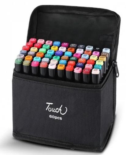 Набір маркерів для скетчинга 60шт. Двосторонні маркери на спиртовій основі. Скетч-маркери