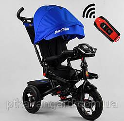 Велосипед с ручкой для мамы для мальчика Синего цвета Best Trike 6088 надувные колеса, фара с USB, пульт
