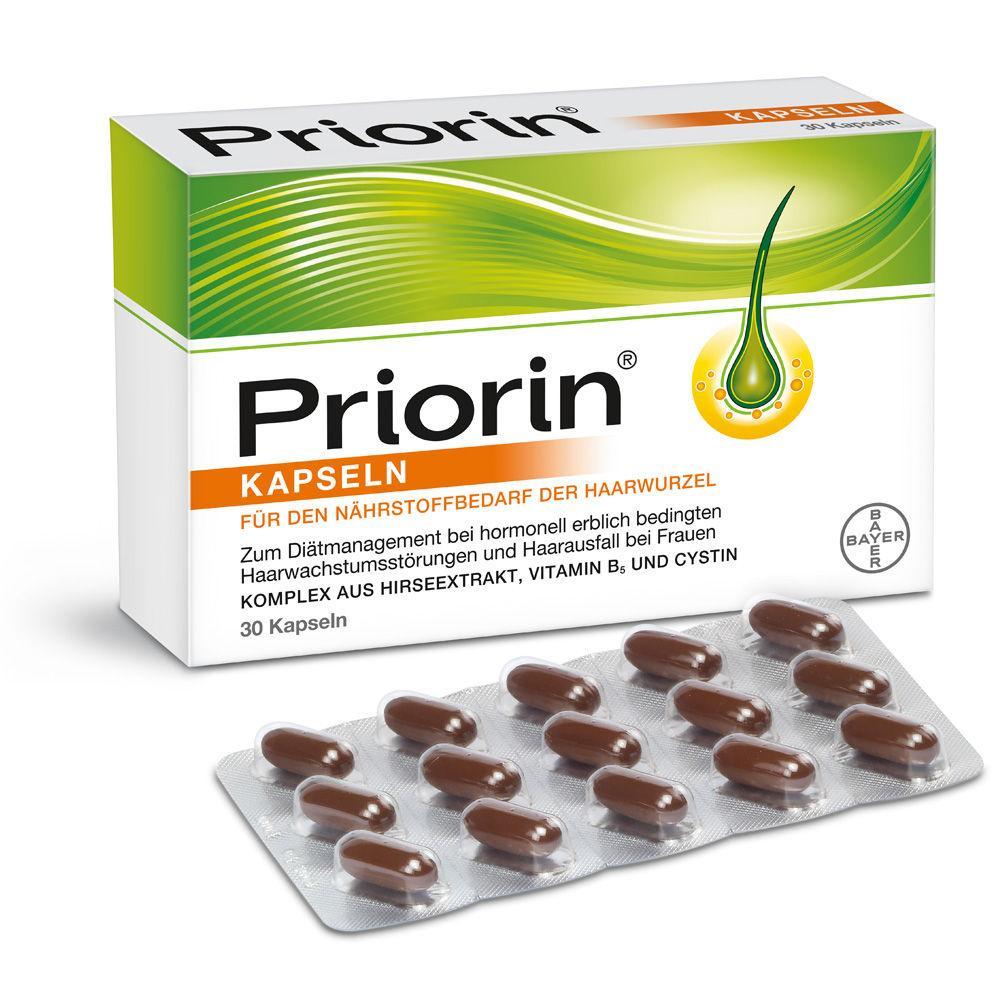 Препарат от выпадения волос Приорин PRIORIN Bayer 30 капсул Германия