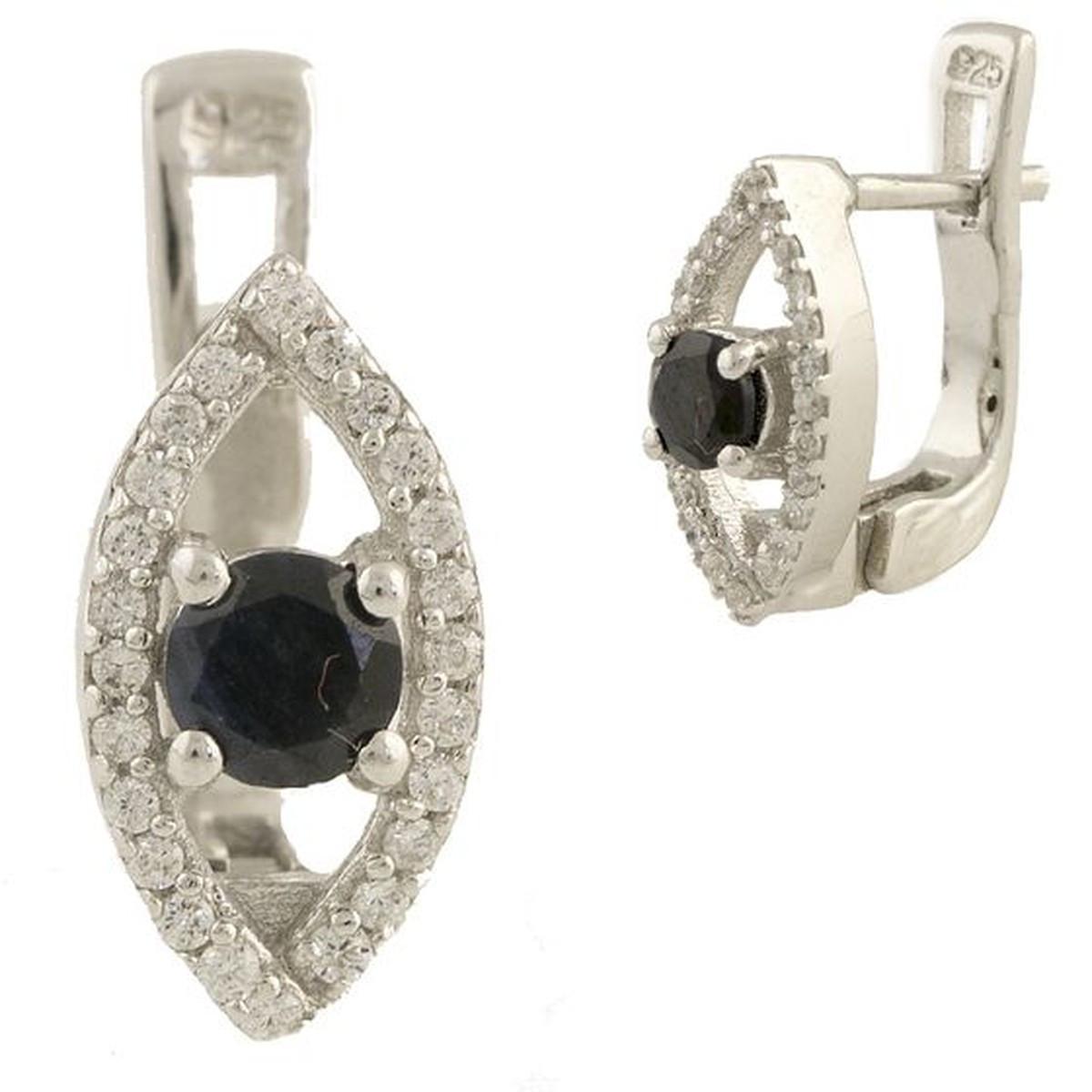 Срібні сережки MioDio з натуральним сапфіром (1197981)