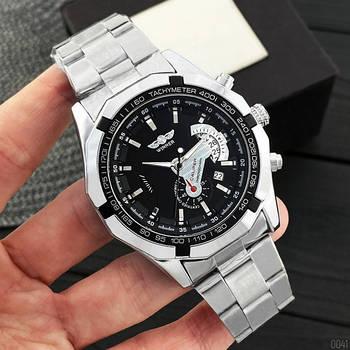 Часы наручные мужские Winner 340 Silver-Black оригинальные стальные механические с автоподзаводом