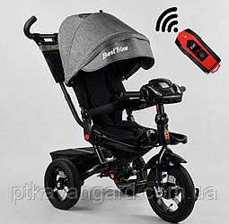 Велосипед трехколесный с ручкой для родителей Серого цвета Best Trike 6088 надувные колеса, фара с USB, пульт