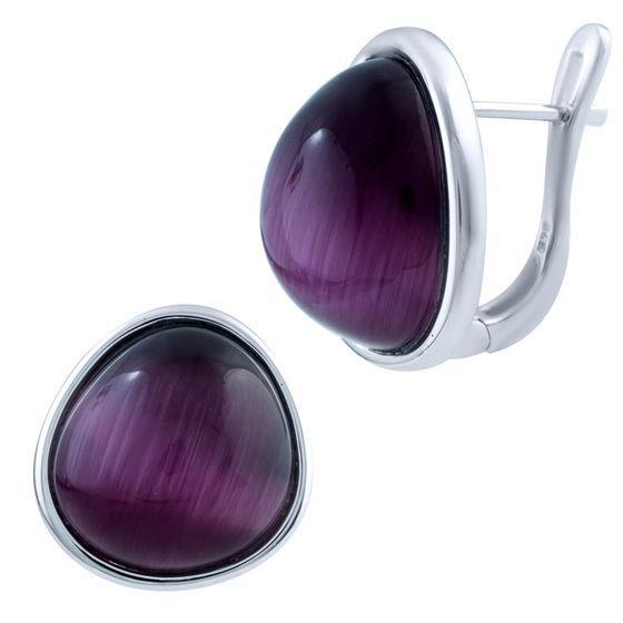 Срібні сережки MioDio з кошачим оком (1803387)