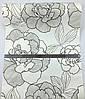 Тисненые немецкие виниловые обои 222114, с большими цветами розы, черный и серый контурный узор на белом фоне, фото 2