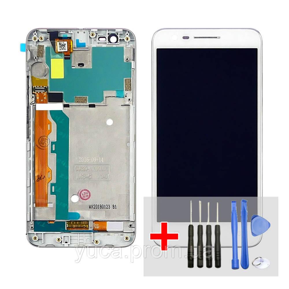 Дисплей для Lenovo C2 з білим тачскріном і сріблястою корпусних рамкою