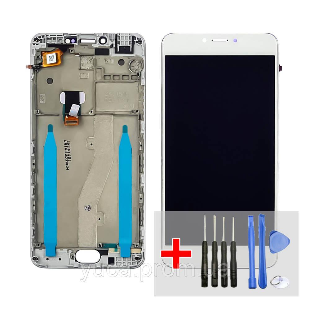 Дисплей для Meizu M3 Note (model L681H) з білим тачскріном і корпусних рамкою