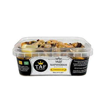 Мидии слабосолёные в масле с лимоном. Цена указана за ведро 0.5 кг.