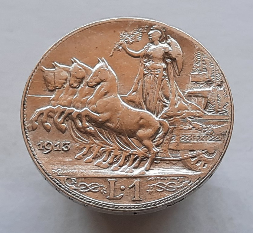 Италия 1 лира 1913 Серебро