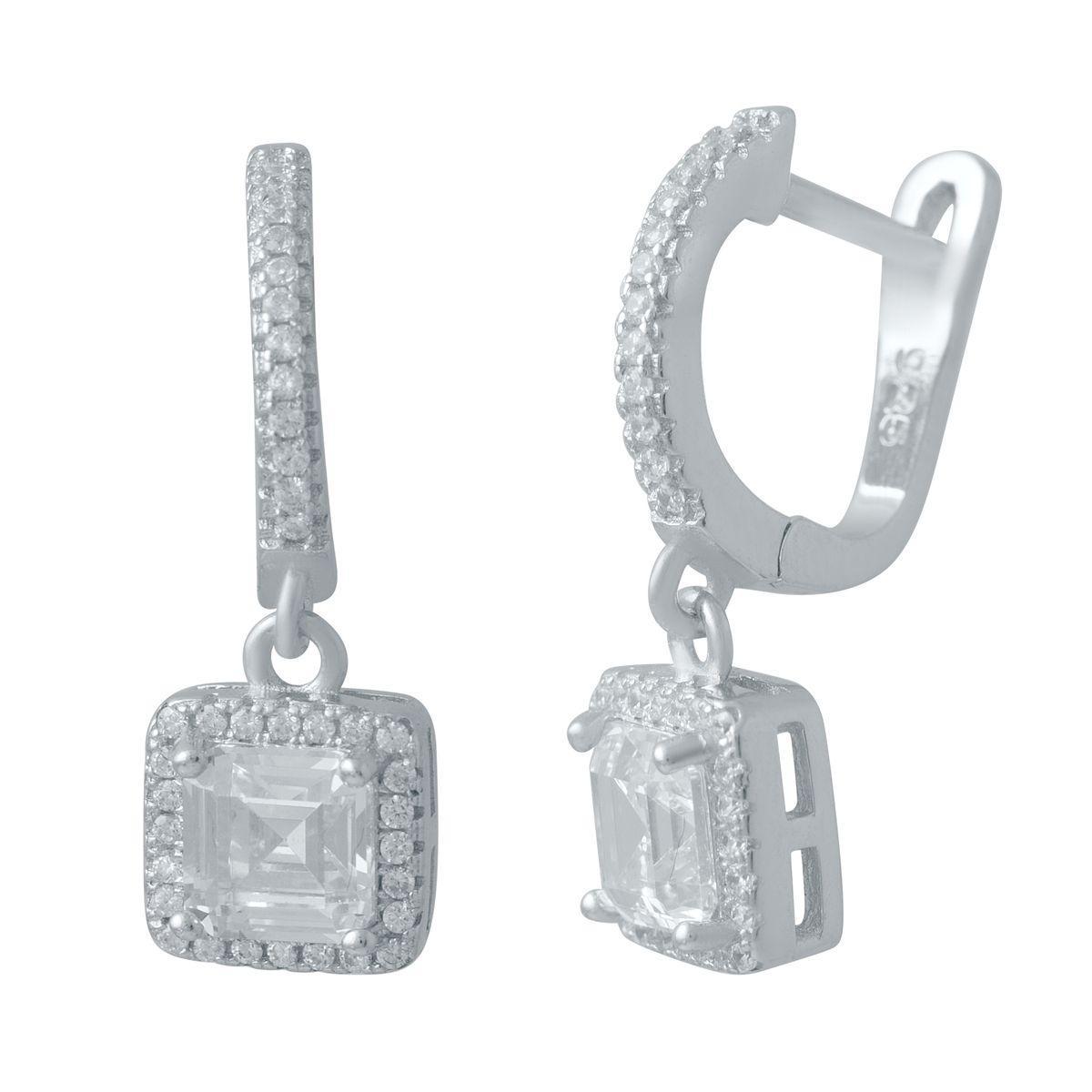 Срібні сережки MioDio з фіанітами (2036357)
