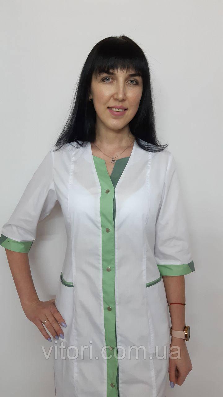 Женский медицинский халат Сана  коттон три четверти рукав на кнопках