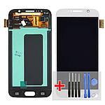 Дисплейний модуль (екран) для Samsung G920 Galaxy S6 з білим тачскріном Original (переклееное скло)