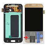 Дисплейний модуль (екран) для Samsung G920 Galaxy S6 з золотистим тачскріном Original (переклееное скло)